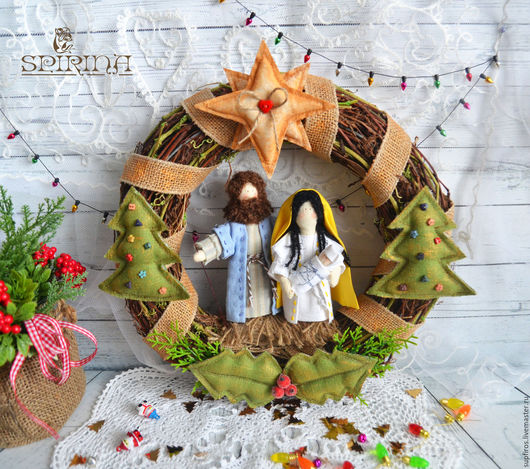 Куклы Тильды ручной работы. Ярмарка Мастеров - ручная работа. Купить Рождественский венок-вертеп. Handmade. Комбинированный, рождественский декор