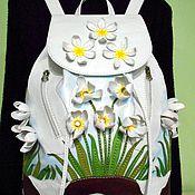 """Сумки и аксессуары ручной работы. Ярмарка Мастеров - ручная работа """"Первоцветы"""" кожаный дизайнерский рюкзак. Handmade."""