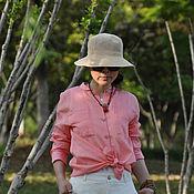 Топы ручной работы. Ярмарка Мастеров - ручная работа Розовая тонкая льняная универсальная рубашка. Handmade.