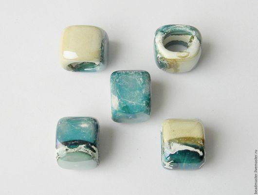Для украшений ручной работы. Ярмарка Мастеров - ручная работа. Купить Бусина керамическая Регализ (БКР58). Handmade. Голубой, регализ