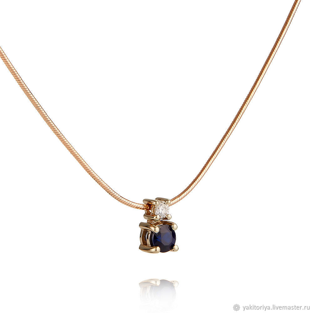 Gold necklace with sapphire and diamond, Necklace, Moscow,  Фото №1
