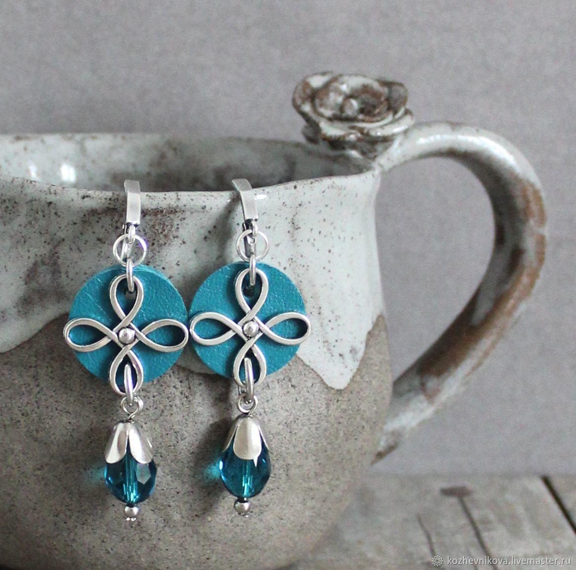 Leather earrings Sea wave, Blue, Orange, Earrings, Nizhnij Tagil,  Фото №1