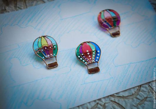 Броши ручной работы. Ярмарка Мастеров - ручная работа. Купить брошь Воздушный шар. Handmade. Зеленый, брошь, стекло