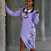 Одежда handmade. Livemaster - original item Purple dress knitted from wool mixture