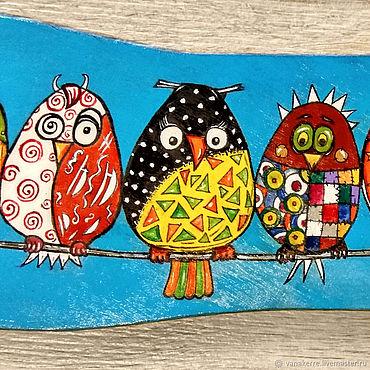 Картины и панно ручной работы. Ярмарка Мастеров - ручная работа Картина Птички на проводе. Лоскутные птицы панно купить в спб недорого. Handmade.