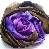 Аксессуары ручной работы. Ярмарка Мастеров - ручная работа Палантин Фантастика  шелковый фиолетово-коричневый. Handmade.