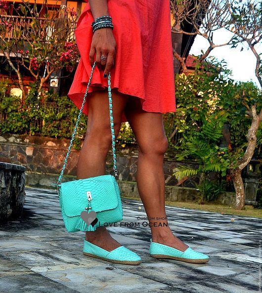 Обувь ручной работы. Ярмарка Мастеров - ручная работа. Купить Эспадрильи из натуральной кожи питона. Handmade. Бирюзовый, питон