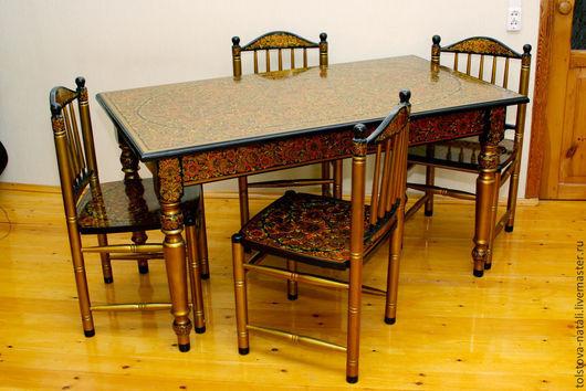 Мебель ручной работы. Ярмарка Мастеров - ручная работа. Купить Расписной столовый гарнитур состоящий из стола и 4-х стульев. Handmade.