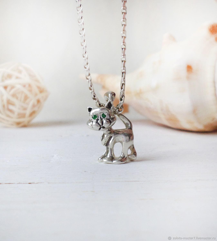 Silver pendant 'Funny cat', Pendants, Chaikovsky,  Фото №1