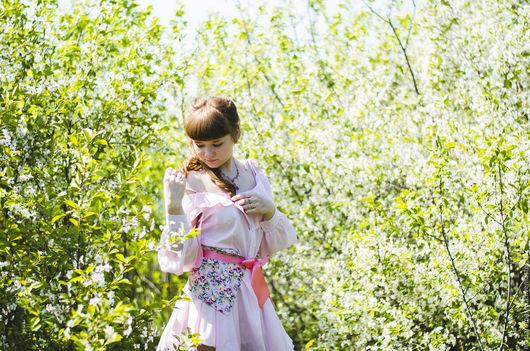 Платья ручной работы. Ярмарка Мастеров - ручная работа. Купить Платье-рубашка с открытыми плечами и съемным поясом. Handmade. Розовый