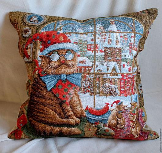 Текстиль, ковры ручной работы. Ярмарка Мастеров - ручная работа. Купить КОТ И МЫШИ: чехол гоб. на подушку, 45-45 см. Handmade.