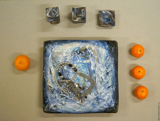 Декоративная посуда ручной работы. Ярмарка Мастеров - ручная работа. Купить Палитра зимы. Handmade. Комбинированный, блюдо для фруктов, подарок