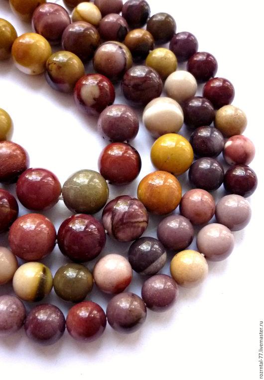 Яшма Мукаит натуральные,гладкие  бусины: 10 мм