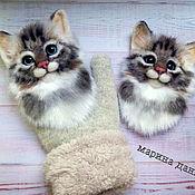 Аксессуары handmade. Livemaster - original item Mittens: Suroweicki with cats.Stripe on the mittens. Handmade.