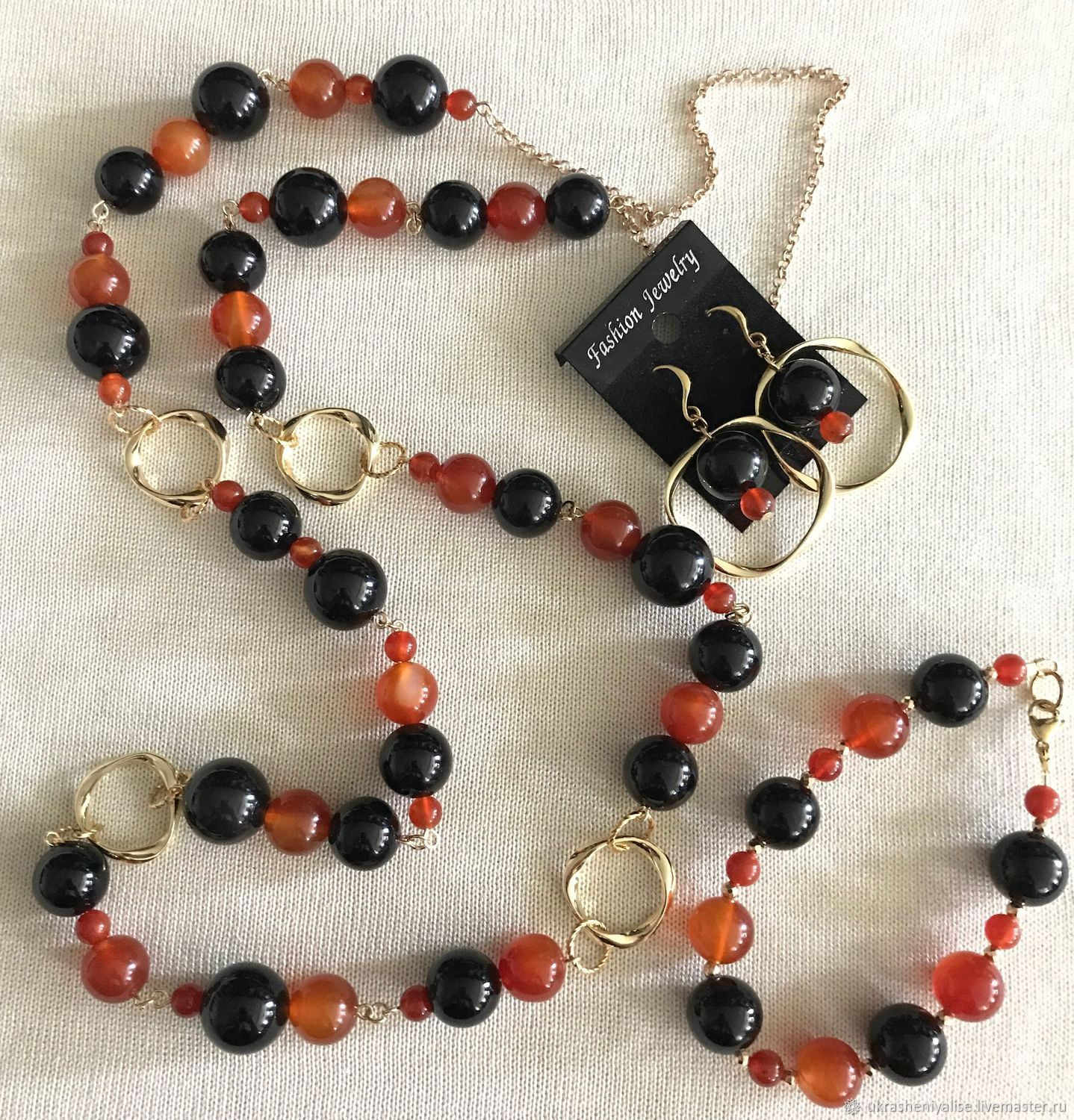 'Orange and dark chocolate ' set of agate, Jewelry Sets, Moscow,  Фото №1