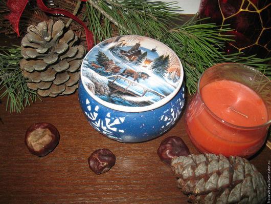 """Шкатулки ручной работы. Ярмарка Мастеров - ручная работа. Купить """"Зима"""". Handmade. Тёмно-синий, новогодний подарок"""