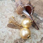 Украшения handmade. Livemaster - original item Cotton pearl earrings-AGRA GOLD. Handmade.