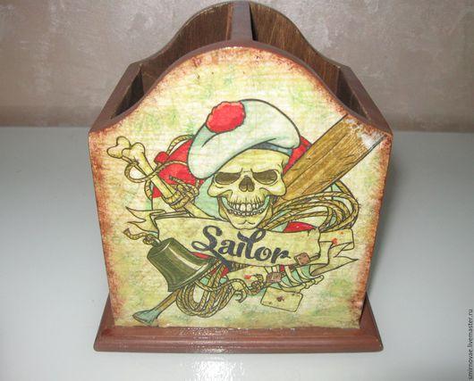 Карандашницы ручной работы. Ярмарка Мастеров - ручная работа. Купить Карандашница Пираты. Handmade. Коричневый, пиратская вечеринка, рисовая бумага