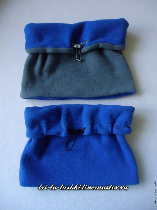 Шапки и шарфы ручной работы. Ярмарка Мастеров - ручная работа. Купить Детский 2-сторонний флисовый снуд серо-синий унисекс. Handmade.