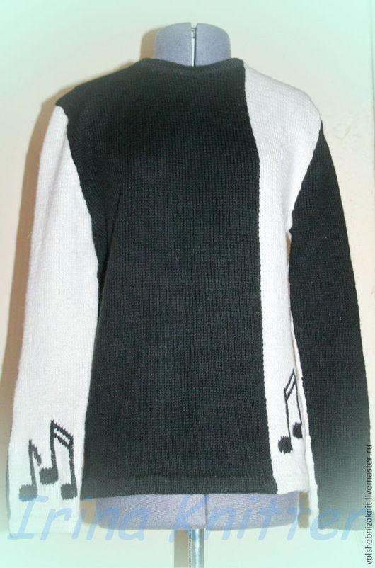 """Кофты и свитера ручной работы. Ярмарка Мастеров - ручная работа. Купить Джемпер """"Мелодия"""". Handmade. Чёрно-белый, джемпер вязаный"""
