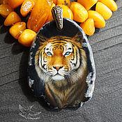 """Украшения handmade. Livemaster - original item Painted pendant """" Tiger. Night Keeper"""" lacquer miniature on stone cat. Handmade."""