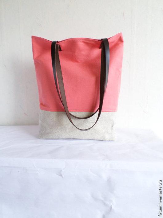 Женские сумки ручной работы. Ярмарка Мастеров - ручная работа. Купить Сумка тоте из льна Коралл. Handmade. Коралловый