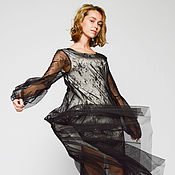 Одежда handmade. Livemaster - original item Dress mesh silk black (Ref. 2796). Handmade.