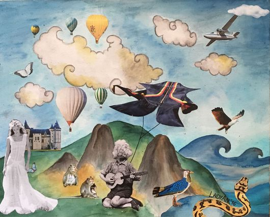 """Пейзаж ручной работы. Ярмарка Мастеров - ручная работа. Купить Коллаж """"Little Dreamer"""" выполненный смешанной техникой.. Handmade. Сюрреализм"""