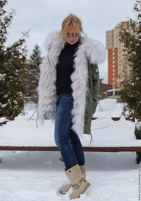"""Верхняя одежда ручной работы. Ярмарка Мастеров - ручная работа. Купить Куртка парка на меховой подстежке из ламы """"жемчужная"""" (евро-зима). Handmade."""