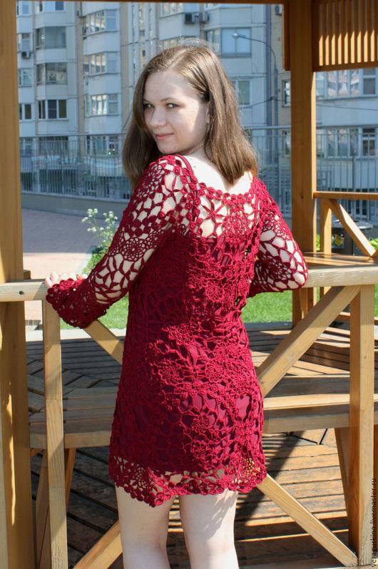 Платья ручной работы. Ярмарка Мастеров - ручная работа. Купить Платье вечернее вязаное. Handmade. Бордовый, Вязание крючком