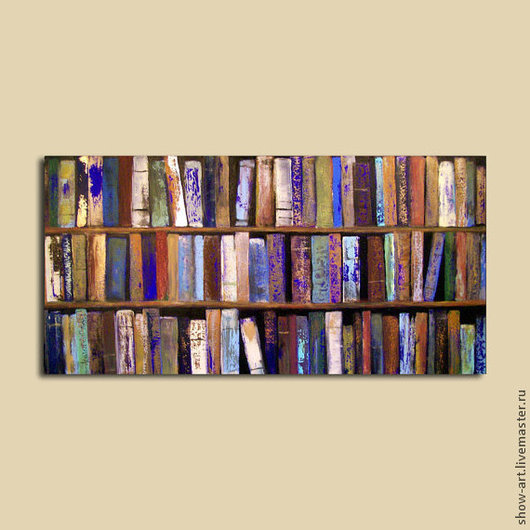 Абстракция ручной работы. Ярмарка Мастеров - ручная работа. Купить Картина в виде книжных полок. Handmade. Имитация, картина для интерьера