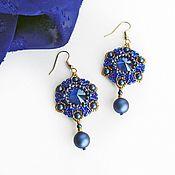 handmade. Livemaster - original item Star of the East earrings braided with Swarovski crystals. Handmade.
