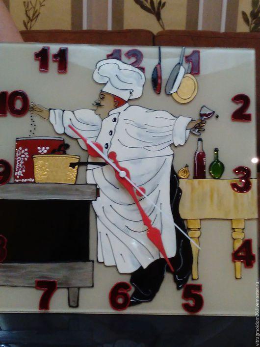 Часы для дома ручной работы. Ярмарка Мастеров - ручная работа. Купить часы настенные кухонные Шеф-повар. Handmade. Бежевый