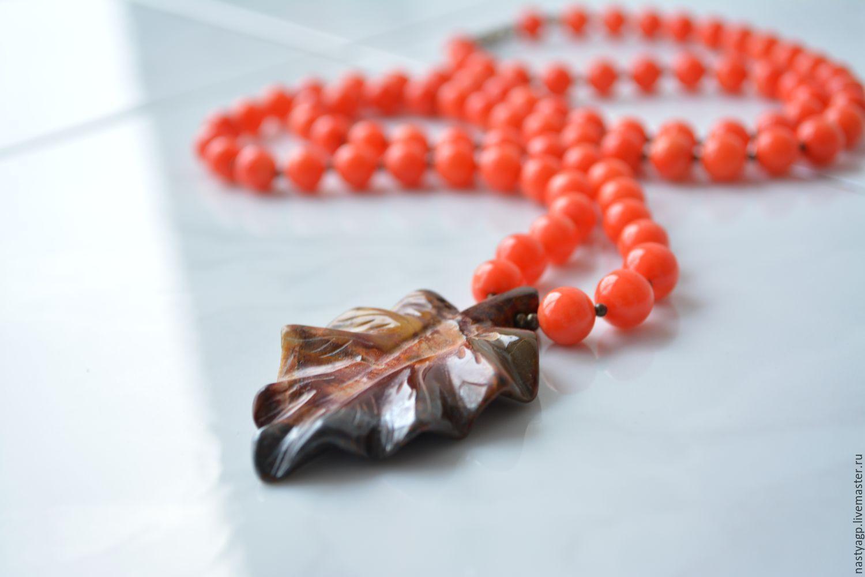 beads pendant, beads ,leaf ,leaf pendant ,coral beads ,orange beads,buy beads ,beautiful beads and pendant