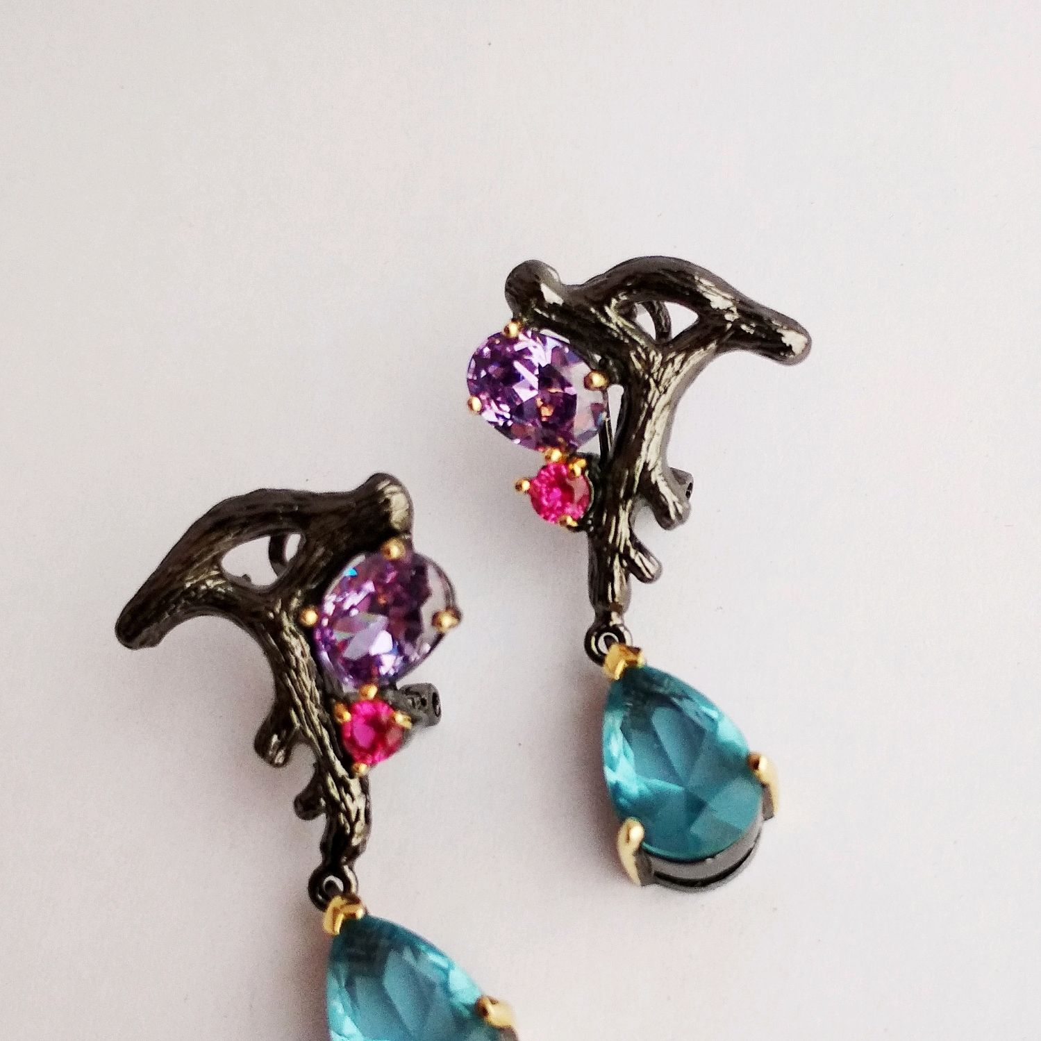Black dragon earrings with Topaz, Zirconia and corundum, Earrings, Kaluga,  Фото №1