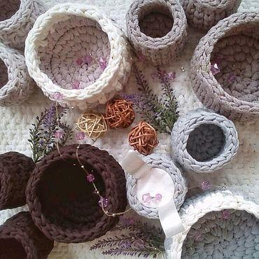 Для дома и интерьера ручной работы. Ярмарка Мастеров - ручная работа Набор вязаных корзин для ванной: хранители ватных дисков, палочек. Handmade.
