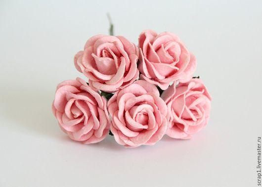 Открытки и скрапбукинг ручной работы. Ярмарка Мастеров - ручная работа. Купить Розы большие 4 см с закругленными лепестками.Розовоперсиковые.1 шт.. Handmade.