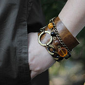 Украшения handmade. Livemaster - original item Leather bracelet with natural stones and chain Ulna. Handmade.