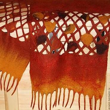Аксессуары ручной работы. Ярмарка Мастеров - ручная работа Шарф валяный из шерсти Листопад. Handmade.