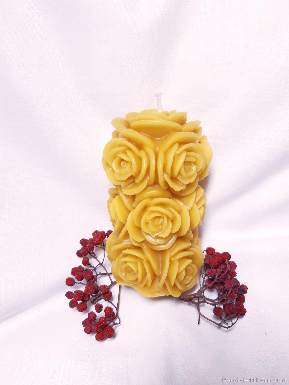 Жёлтая литая свеча в форме букета из роз, Свечи, Калининград,  Фото №1