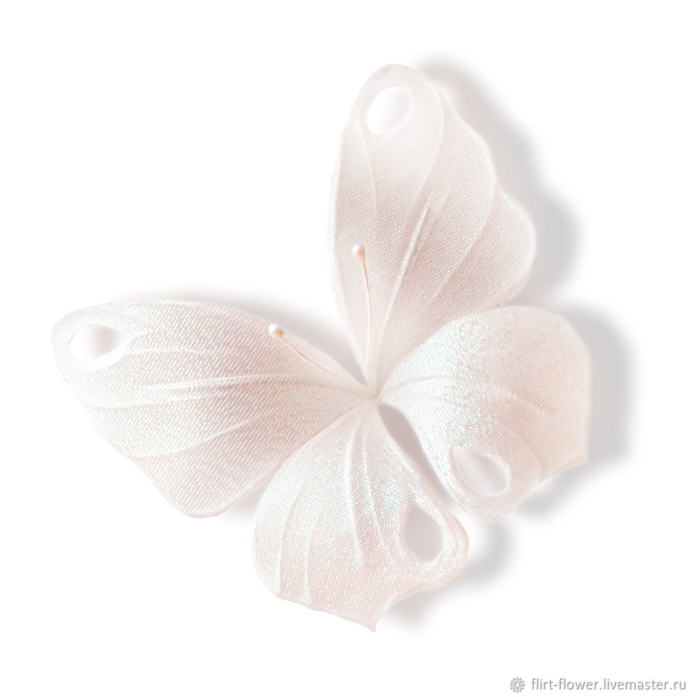 Barrette hair clip small white butterfly. Butterfly silk for the bride. Butterfly of fabric for girls. Brooch butterfly with pearls. Brooch with pearls butterfly. Fair Masters