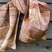 Аксессуары ручной работы. Ярмарка Мастеров - ручная работа Шелковый шарф, эко принт. Handmade.