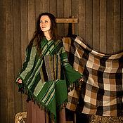 Одежда ручной работы. Ярмарка Мастеров - ручная работа Пончо Зеленые полоски. Handmade.