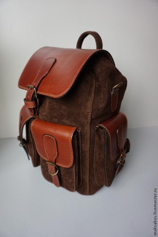 Рюкзаки ручной работы. Ярмарка Мастеров - ручная работа. Купить Большой рюкзак из замши. Handmade. Коричневый, вместительный