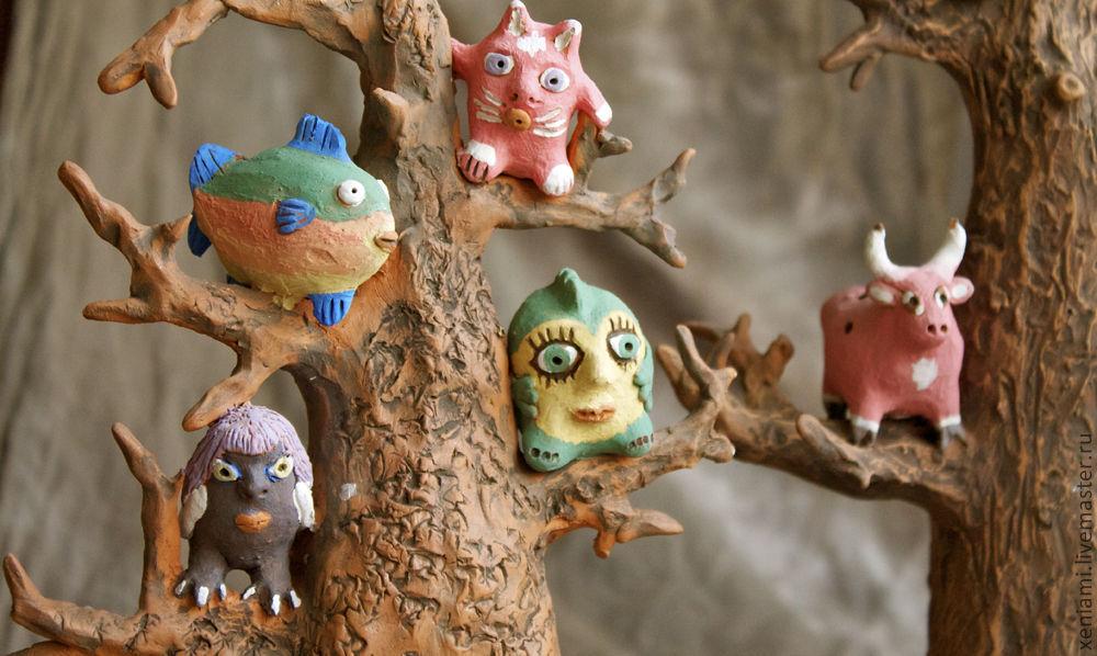Статуэтки ручной работы. Ярмарка Мастеров - ручная работа. Купить Чудо-дерево. Handmade. Сказка, оригинальный подарок, глиняная статуэтка