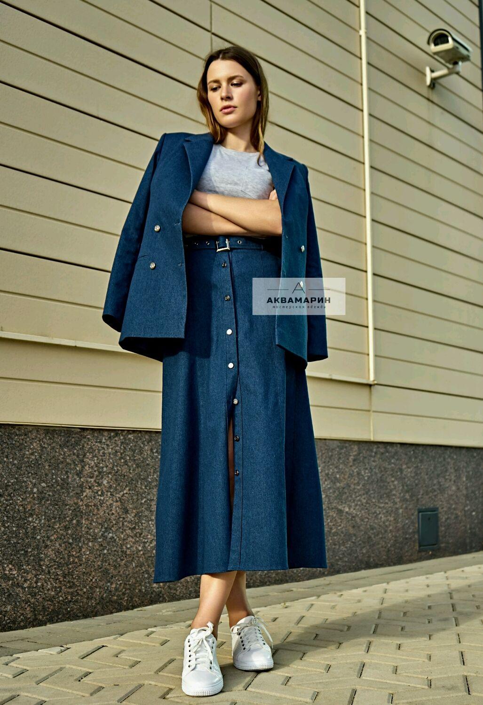 4dd7a762396 Юбки ручной работы. Юбка на пуговицах джинсовая.  Аквамарин  дизайнерская  одежда. Интернет ...