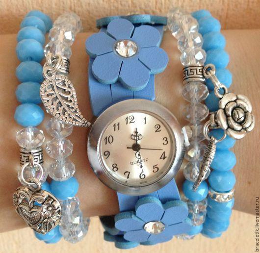 Браслеты ручной работы. Ярмарка Мастеров - ручная работа. Купить Сет браслетов с часами РАЙСКИЙ голубой. Handmade. Голубой