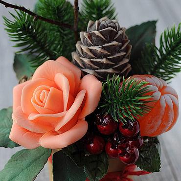 Косметика ручной работы. Ярмарка Мастеров - ручная работа Букет из мыла Новогодний, подарочный набор мыла, полезный подарок. Handmade.