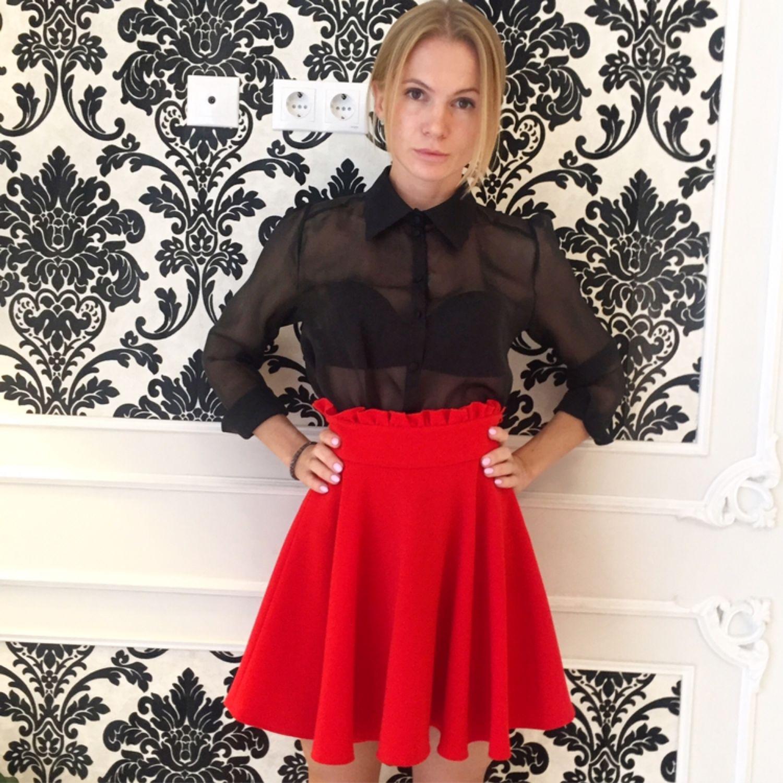 0dcb798871d Юбки ручной работы. Красная юбка-солнце. Rayawear. Интернет-магазин Ярмарка  Мастеров ...