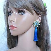 Украшения handmade. Livemaster - original item Earrings brush Flower blue Pusey. Handmade.